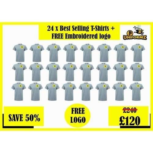 24 x Top Quality T-shirts + Free Printed Logo