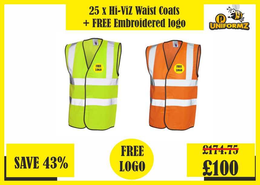25 x Hi Viz Waist Coats