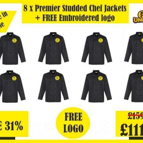 8 x Premier Studded Chef Jackets