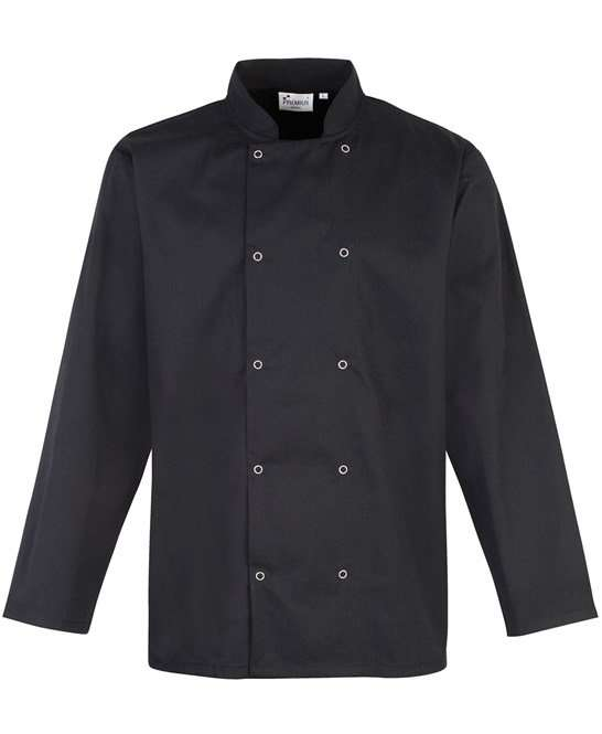 Studded front long sleeve chef's jacket BLACK