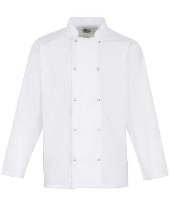 Studded front long sleeve chef's jacket WHITE